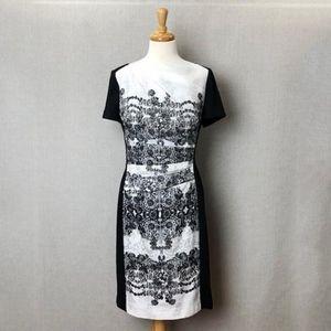 KAY UNGER NY Black & White Sheath Dress Sz 14